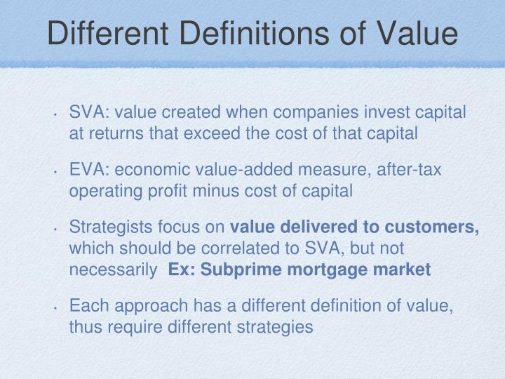 Different Definitions of Value