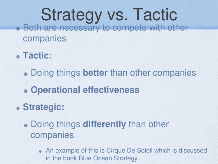 Strategy vs. Tactic