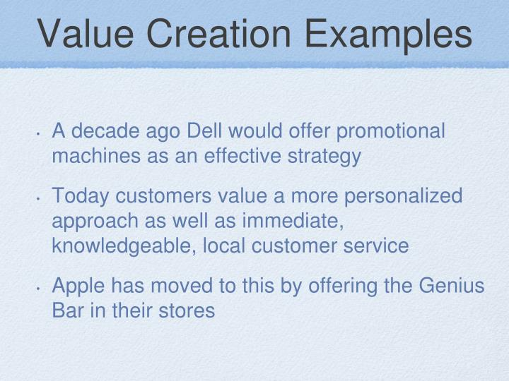 Value Creation Examples