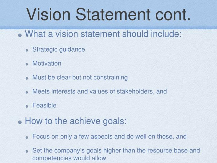 Vision Statement cont.
