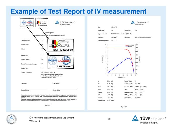 Example of Test Report of IV measurement
