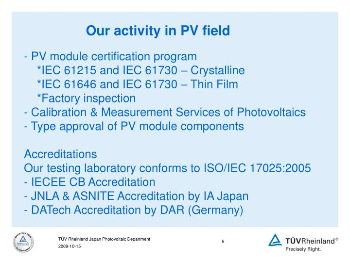 Our activity in PV field