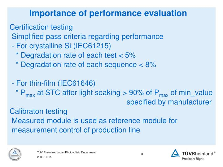 Importance of performance evaluation