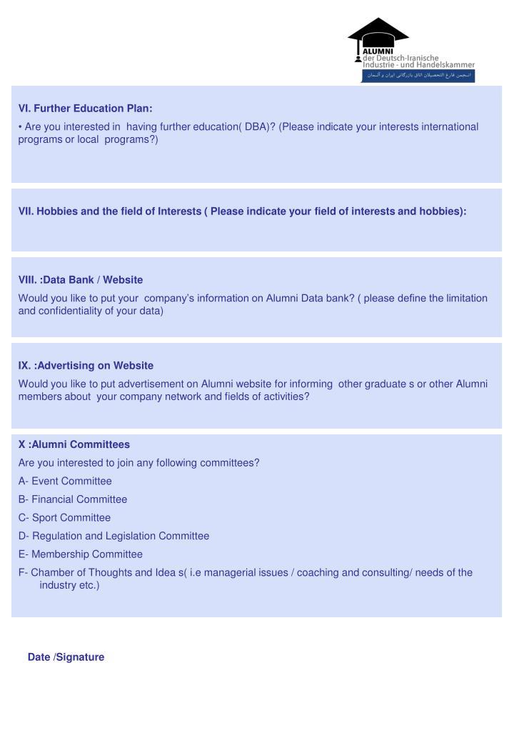 VI. Further Education Plan: