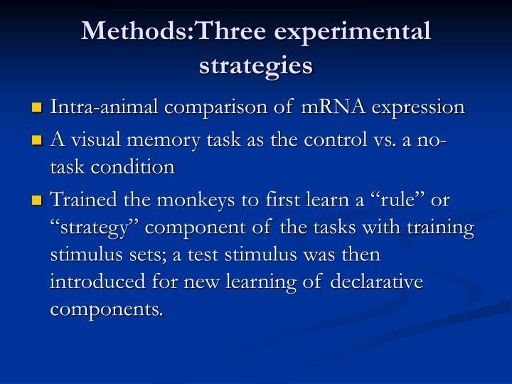Methods:Three experimental strategies