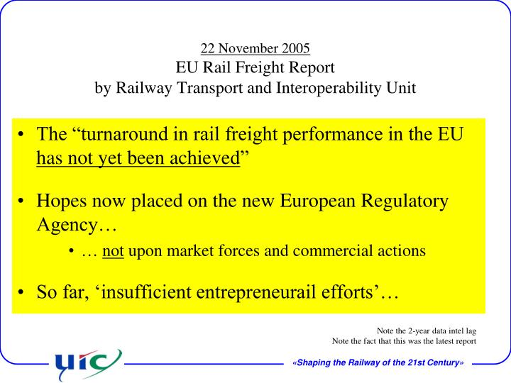 "The ""turnaround in rail freight performance in the EU"