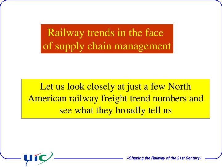 Let us look closely at just a few North American railway freight trend numbers and see what they broadly tell us