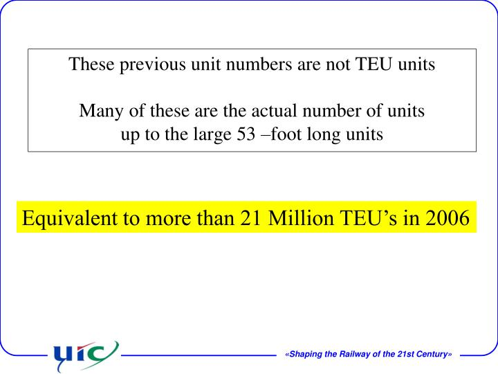 These previous unit numbers are not TEU units