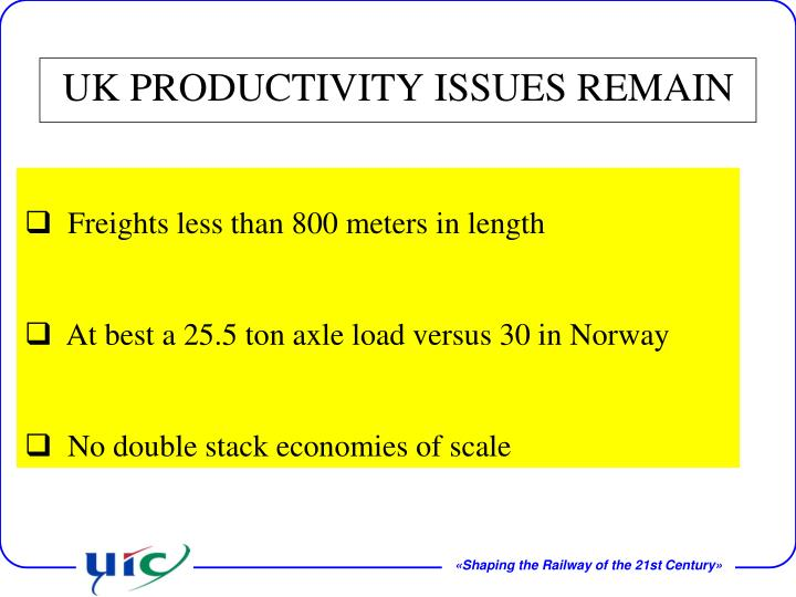 UK PRODUCTIVITY ISSUES REMAIN