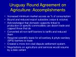 uruguay round agreement on agriculture accomplishments