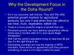 why the development focus in the doha round