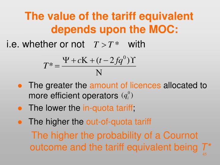 The value of the tariff equivalent depends upon the MOC: