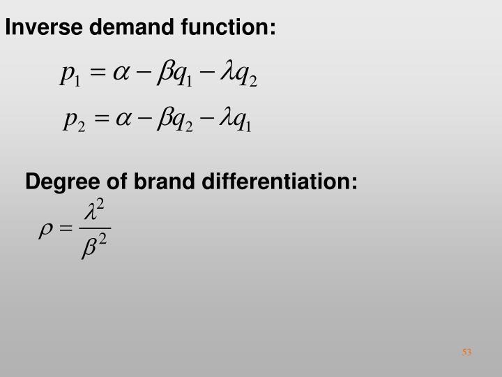 Inverse demand function: