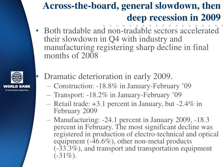 Across-the-board, general slowdown, then deep recession in 2009