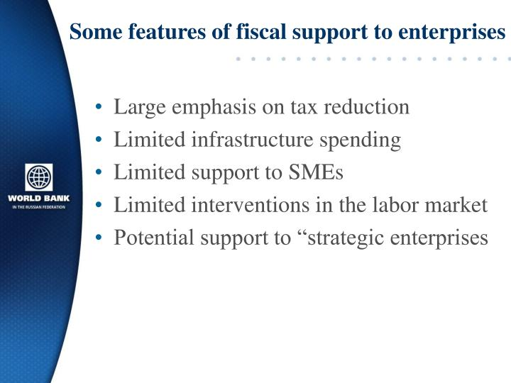 Some features of fiscal support to enterprises