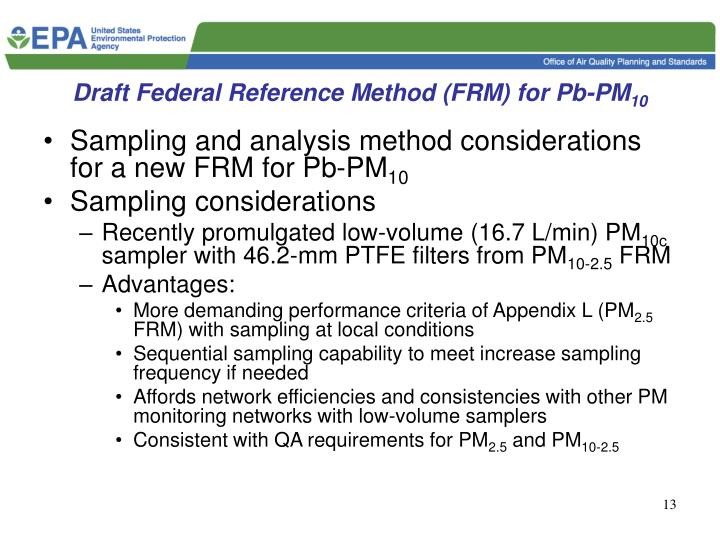 Draft Federal Reference Method (FRM) for Pb-PM