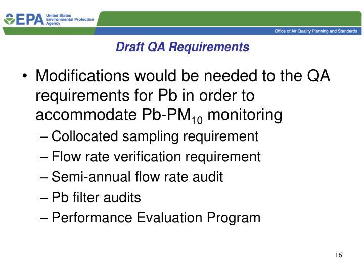 Draft QA Requirements