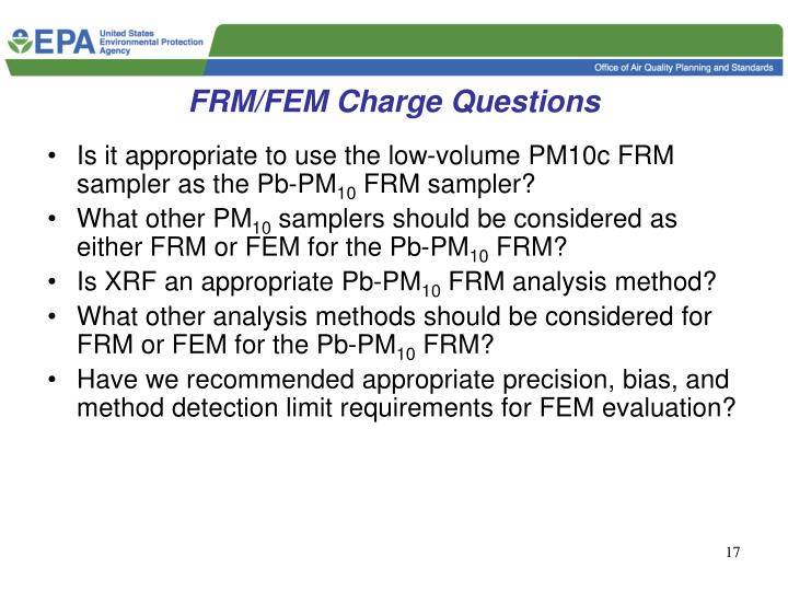 FRM/FEM Charge Questions