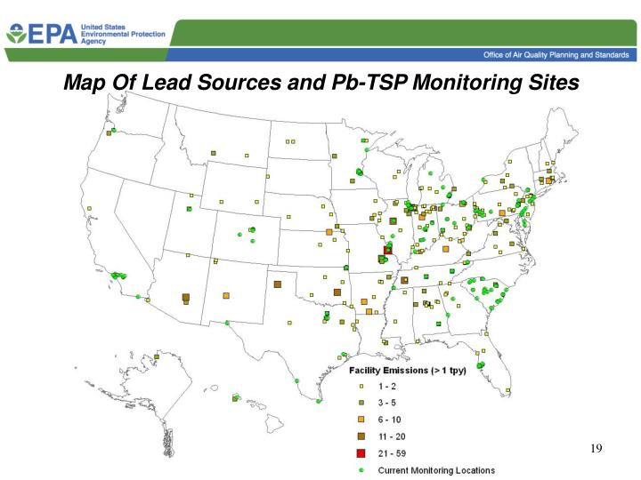 Map Of Lead Sources and Pb-TSP Monitoring Sites