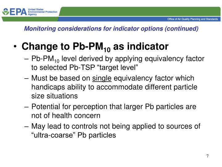 Monitoring considerations for indicator options (continued)
