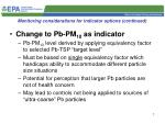 monitoring considerations for indicator options continued1