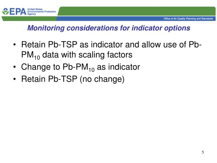 Monitoring considerations for indicator options