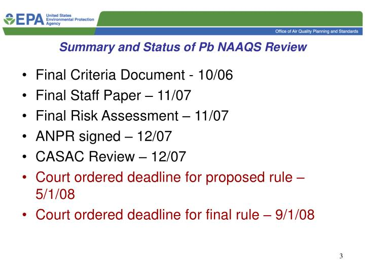 Summary and Status of Pb NAAQS Review