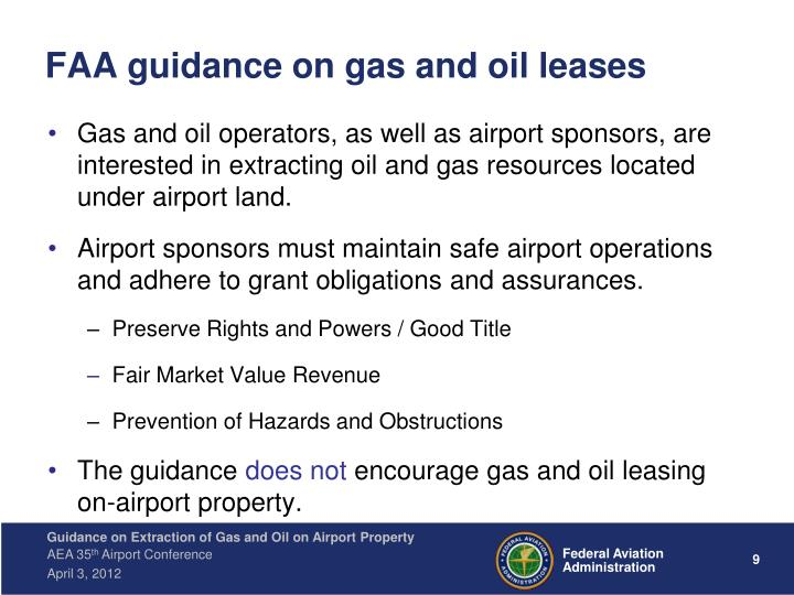 FAA guidance on gas and oil leases