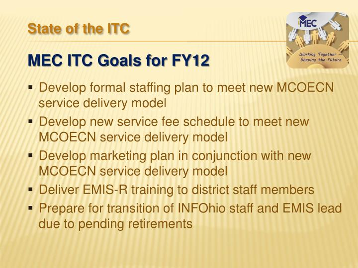 Develop formal staffing plan to meet new MCOECN service delivery model