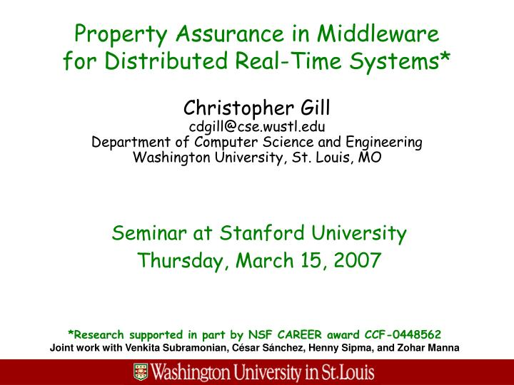 property assurance in middleware for distributed real time systems