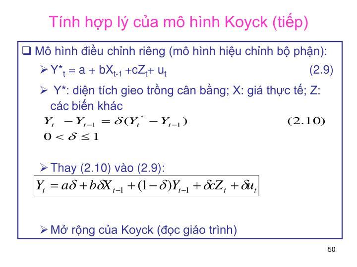 Tính hợp lý của mô hình Koyck (tiếp)
