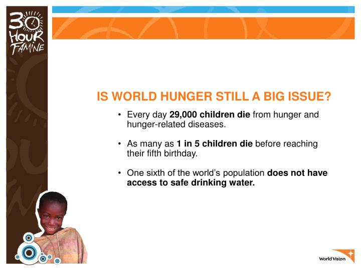 IS WORLD HUNGER STILL A BIG ISSUE?