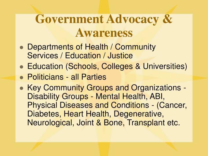 Government Advocacy & Awareness