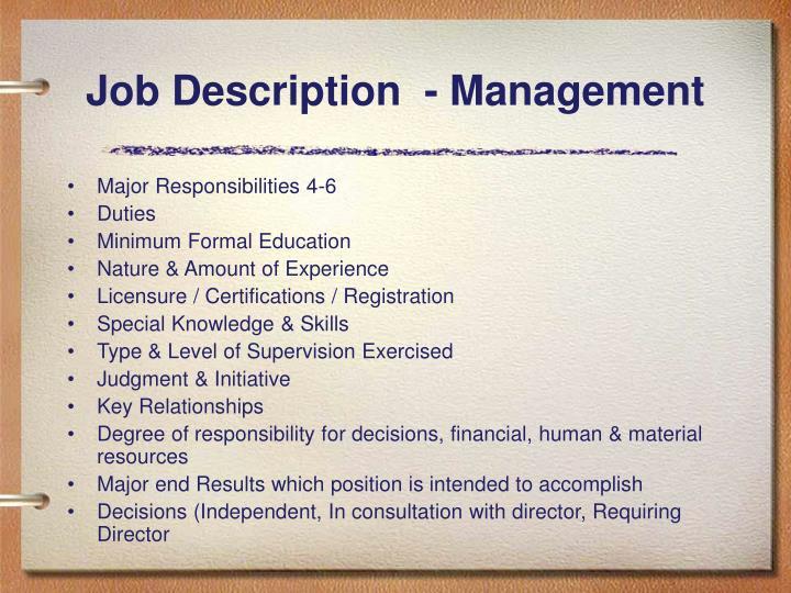 Job Description  - Management