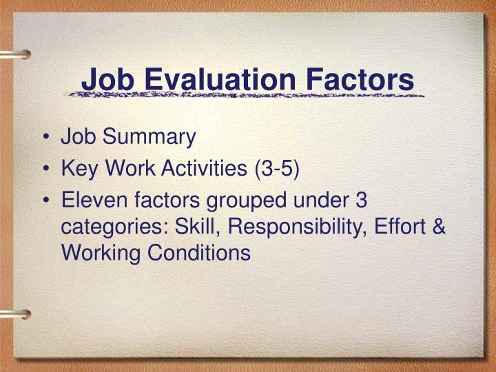 Job Evaluation Factors