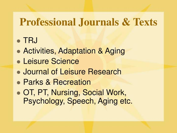 Professional Journals & Texts