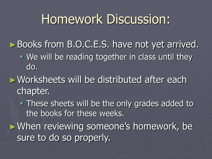Homework Discussion: