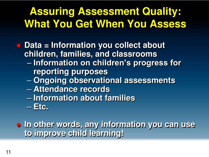Assuring Assessment Quality:
