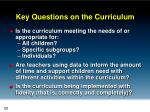 key questions on the curriculum