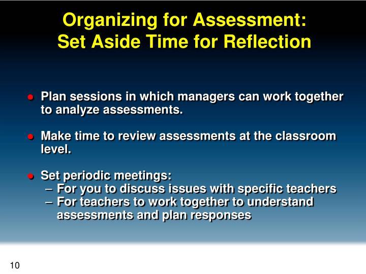 Organizing for Assessment: