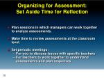 organizing for assessment set aside time for reflection