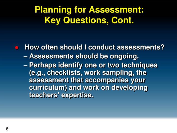 Planning for Assessment: