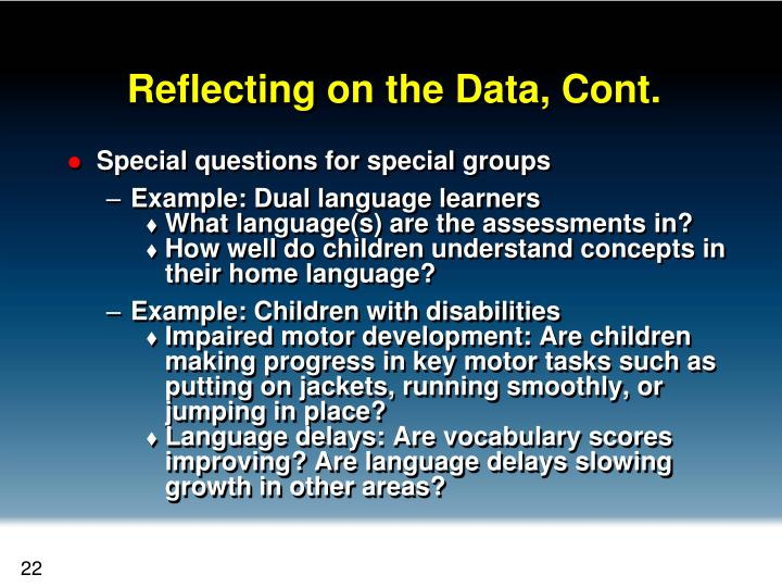 Reflecting on the Data, Cont.