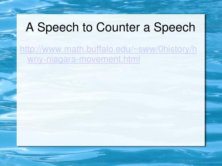 A Speech to Counter a Speech