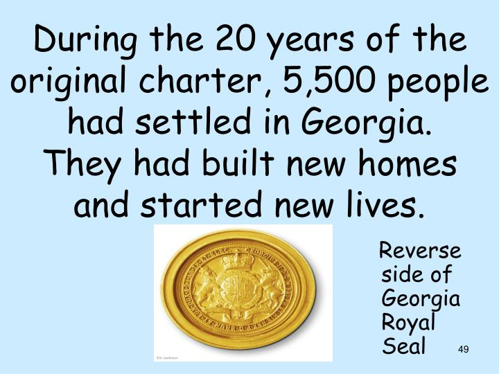 During the 20 years of the original charter, 5,500 people had settled in Georgia.