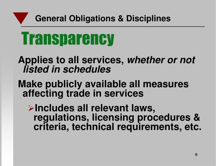 General Obligations & Disciplines