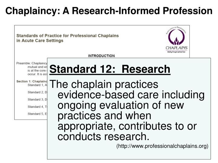 Chaplaincy: A Research-Informed Profession