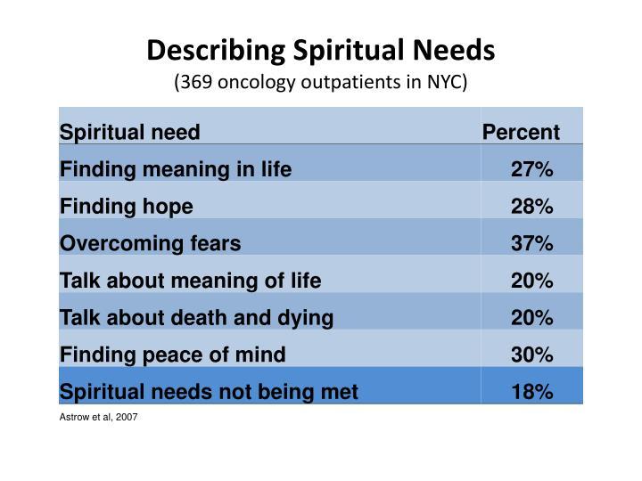 Describing Spiritual Needs