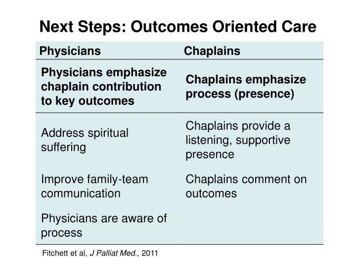 Next Steps: Outcomes Oriented Care