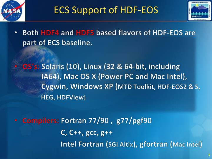 Ecs support of hdf eos